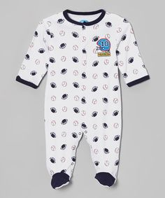 Look what I found on #zulily! Black Sports Snuggle 'N' Play Footie - Infant #zulilyfinds