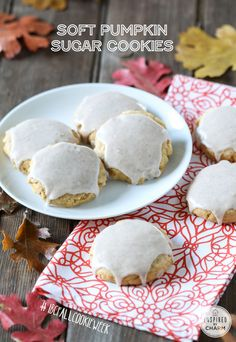 These Soft Pumpkin Sugar Cookies will quickly become a fall baking favorite. They are packed with pumpkin flavor and topped with a spiced glaze. Pumpkin Recipes, Fall Recipes, Sweet Recipes, Holiday Recipes, Cookie Recipes, Dessert Recipes, Vegan Recipes, Fall Desserts, Just Desserts