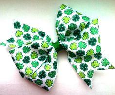 SALE Girls/Baby/Toddler Green Shamrock St. Patrick's Day Hair Bow by MissLittleBowtique, $2.99