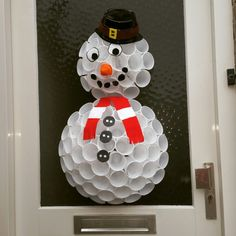 Christmas snowman made out of plastic cups