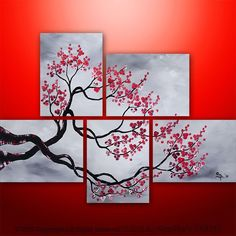Abstract painting - abstract painting large painting asian painting tree painting canvas art wall decor gabriela black white red wall art made to order Abstract Canvas, Canvas Art, Painting Abstract, Painting Canvas, Painting Collage, Multiple Canvas Paintings, Hand Painted Canvas, Canvas Crafts, Wal Art