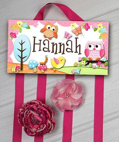 Another great find on #zulily! Pink Owl Personalized Hair Bow Holder #zulilyfinds