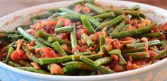 Green Beans with Tomatoes by Ree Drummond Green Beans And Tomatoes, Green Beans With Almonds, Food Network Thanksgiving, Thanksgiving Recipes, Vegetable Pasta, Vegetable Sides, Side Recipes, Vegetable Recipes, Recipes Using Fruit