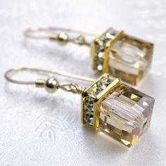 Gold Swarovski Crystal Cube Earrings Champagne Dangle by fineheart, $36.00