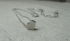 Modern simple minimalist jewelry Everyday -Silver Petite heart pendant charm rhodium silver plated necklace Love Heart Pendant Charm Jewelry - pinned by pin4etsy.com