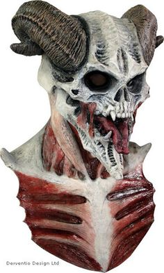 MENS DEVIL SKULL SCARY LATEX HEAD MASK & CHEST DELUXE ADULT HORROR HALLOWEEN NEW | eBay