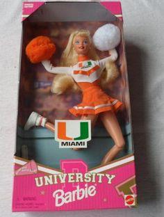 University of Miami Barbie * Continue to the product at the image link. Miami Hurricanes Apparel, Hurricanes Football, Miami Cheerleaders, Dolphins Cheerleaders, College Football Teams, Football Is Life, U Of Miami, Edition Miami, Dream School