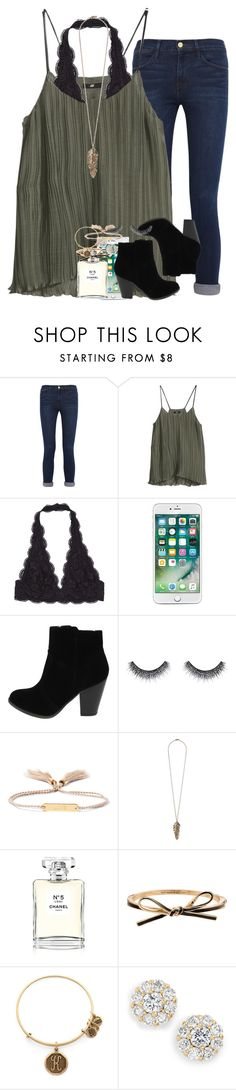"""""""join my new group!"""" by ellaswiftie13 ❤ liked on Polyvore featuring Frame, H&M, Huda Beauty, Chloé, Forever 21, Chanel, Kate Spade and Alex and Ani"""