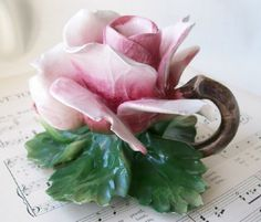 Capodimonte Shabby Rose Candleholder-Capodimonte Pink Rose Candle Holder China Porcelain Shabby Chic Romantic Homes Cottage Decor  ~  I must have this! ohmygoodness!!! So perfect!!!