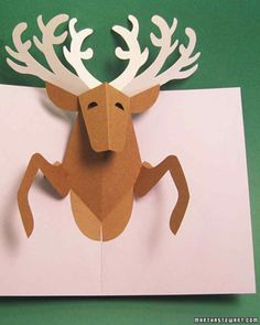 Affordable Christmas Crafts | Martha Stewart Living - Spread holiday cheer with this one-of-a-kind reindeer card, a whole set of which will cost you less than $10 to make.