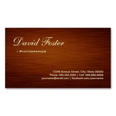 Photographer - Wood Grain Look Business Card Template. I love this design! It is available for customization or ready to buy as is. All you need is to add your business info to this template then place the order. It will ship within 24 hours. Just click the image to make your own!