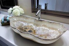 Modern Natural Stone Bathroom Vessel Sink - White Semi rustic Onyx Marble #thebeautifulsink