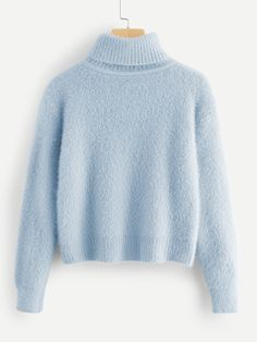 36089cc9ee9886 Rolled Up Neck Solid Fuzzy Jumper -SheIn(Sheinside) Winter Sweaters