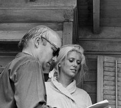 Catherine Deneuve (and director Jean-Paul Rappenau) on the set of Le sauvage (1975)
