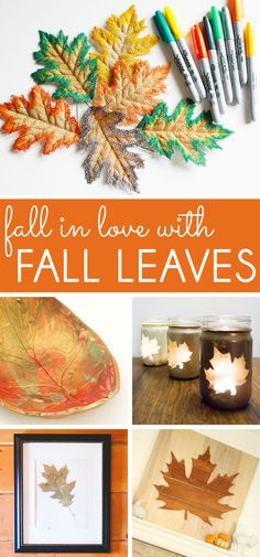 Decorate for fall with these simple and stylish fall leaf craft projects. Leaf Crafts, Fall Crafts, Autumn Leaves Craft, Leaf Projects, Cute Home Decor, Love Craft, Halloween Pumpkins, Pumpkin Carving, Falling In Love