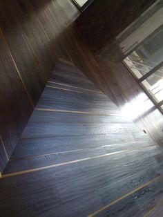 wood floor with metal inlay