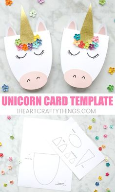How to Make a Simple DIY Unicorn Card These DIY unicorn cards are gorgeous, simple to create and are guaranteed to bring a big smile to s Diy Unicorn Birthday Card, Unicorn Valentine, Girl Birthday Cards, Handmade Birthday Cards, Unicorn Birthday Parties, Diy Birthday, Diy Unicorn Party, Unicorn Birthday Invitations, Birthday Ideas