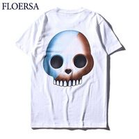 FLOERSA T Shirt Men Short Sleeve Men Tops Cotton Skull T Shirt Fashion Casual Summer Poleras Hombre Brand-Clothing#C565-33