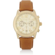 Michael Kors Mercer gold-tone and leather chronograph watch ($225) ❤ liked on Polyvore featuring jewelry, watches, michael kors, brown, chronograph watch, goldtone jewelry, gold tone watches, chrono watch and gold tone jewelry