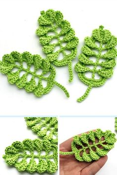 Crochet DIY leaves for craft and decorations in many colors Spring leaf embellishment eco friendly cotton yarn Crochet applique They are so lovely. Crochet Leaf Patterns, Crochet Leaves, Crochet Motif, Crochet Designs, Crochet Flowers, Knitting Patterns, Crochet Appliques, Crochet Shawl, Crochet Flower Tutorial