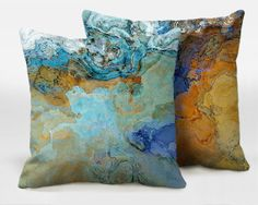 A pair of abstract art pillows 16x16 18x18 20x20 lime by ArtPillow
