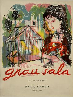 Lithograph poster advertising a Grau Sala art exhibition held in Barcelona. 1966