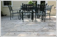 Painting a Deck - New Product by Behr that made painting my deck a breeze! Grey Deck Stain, Deck Cleaner, Deck Colors, Deck Makeover, Outdoor Tables, Outdoor Decor, New Deck, Deck Decorating, How To Make Paint