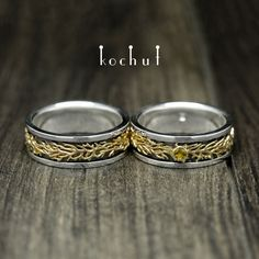"""Wedding rings """"Forest"""". Silver, gold"""