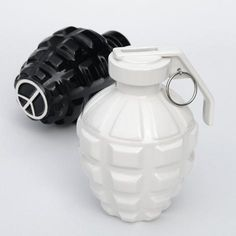 A love grenade coin bank with part of proceeds donated to help promote world peace.