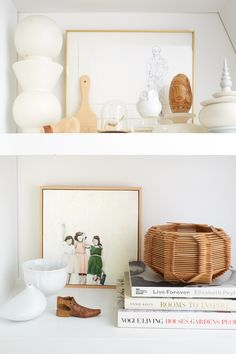 """""""Remember that a bunch of little things will look more organized if they are in a small color palette. Use each shelf to feature books and accessories in one or two colors. Here, this classic Scandinavian collection appears neat and collected in white and wood.""""Styling: Emily Henderson"""
