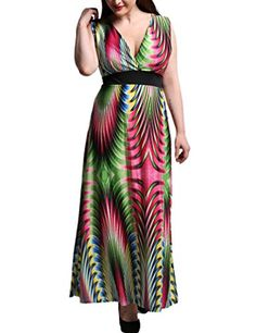Choco Mocha Womens Geometric Printed Beach Maxi Dresses Plus Size US 14W >>> You can get more details by clicking on the image.