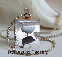 Duck Reflections Photo Art Necklace Charm Pendant Unique white Bird #Handmade #Pendant