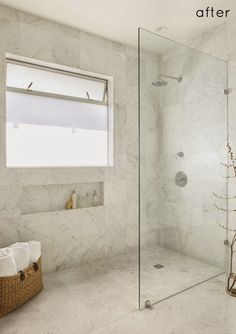 Walk-in standing shower with glass wall and no door. No ledge. Floor is continuous. 10 Walk-In Shower Ideas That WowWalk-in standing shower with glass wall and no door. No ledge. Floor is continuous. 10 Walk-In Shower Ideas That Wow House Bathroom, Bathroom Inspiration, Standing Shower, Bathroom Makeover, Small Bathroom, Laundry In Bathroom, Wet Rooms, Bathroom Design, Shower Room