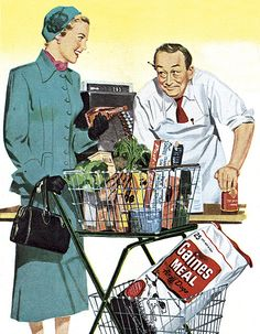 A stylish lady at the vintage supermarket checkout. #vintage #shopping #1950s #supermarket