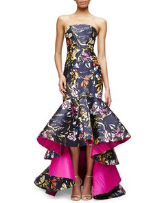 Oscar de la Renta Strapless Printed High-Low Mermaid Gown