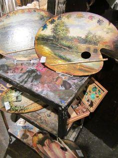 Painter's palette used as a canvas Pallet Painting, Tole Painting, Palette Art, Atelier D Art, Art Studios, Landscape Paintings, Landscapes, Great Artists, Painting Inspiration
