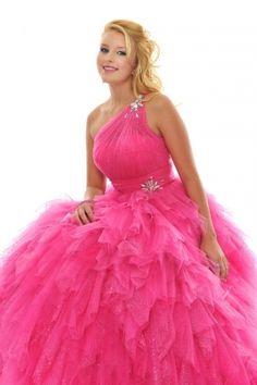 Ball-gown Floor-length One-shoulder Dress Low-back Zipper Dark Pink Posh Precious 1003 Jewel Layered