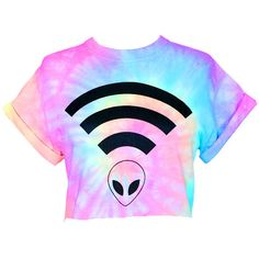 Alien Wifi Crop Top Pastel Tie Dye Alien Wifi Crop Tee Pastel Grunge... (29 AUD) ❤ liked on Polyvore featuring tops, shirts, crop tops, cropped, black, women's clothing, black top, tie dye tops, rainbow shirt and tie-dye tops