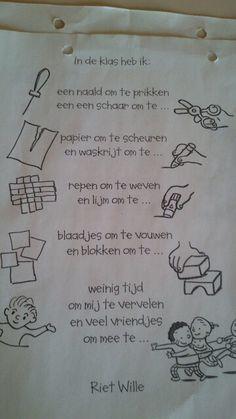 * Versje: In de klas heb ik een ... First Day Of School, Back To School, Team Teaching, Learn Dutch, My Themes, Too Cool For School, Primary School, Activities For Kids, Classroom