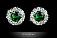 Jill Beloved Emerald Green Halo Stud Earrings | 5 Carat | Cubic Zirconia