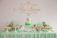 Mia's Elegant Mint & Gold Christening by Thetis @ Sooti Events. Photographer Jess Parker of White Spark Photography.