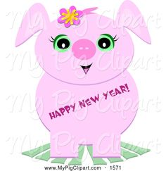cute new year clip art swine clipart of a cute pig with happy new year