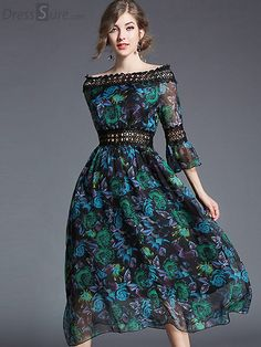 8b8f2216c228 Buy Chic Slash Neck Hollow Out Flare Sleeve Floral Print Maxi Dress with  High Quality and