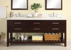 72 Inch Double Sink Modern Cherry Bathroom Vanity with Open Shelf and White Carrera Marble