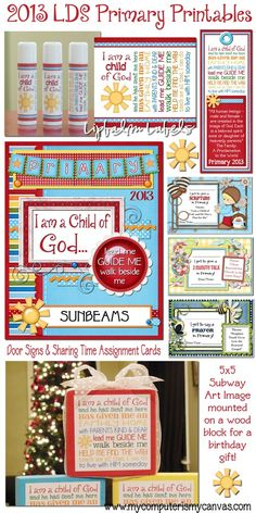 2013 Free Printables for LDS Primary... LIPbalm labels, bookmarks, door signs, sharing time cards, subway art, birthday gifts, presidency binder covers by My Computer is My Canvas. All freebies!