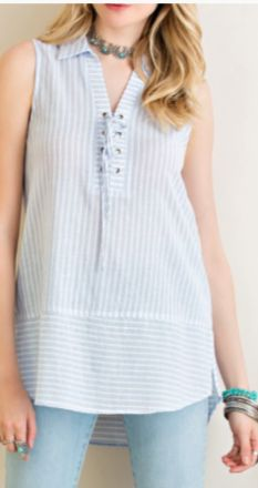 Sleeveless Striped Collared Top
