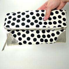 Black Polka Dots Fold Over Clutch Handbag