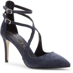 Sole Society Lux Ankle Strap Pump (1.131.010 IDR) ❤ liked on Polyvore featuring shoes, pumps, heels, navy, pointy toe ankle strap pumps, high heels stilettos, suede shoes, strappy pumps and pointy-toe pumps