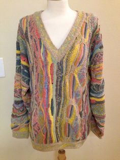 COOGI Australia Classic sweater LARGE cotton linen pink yellow blue stripes VTG…