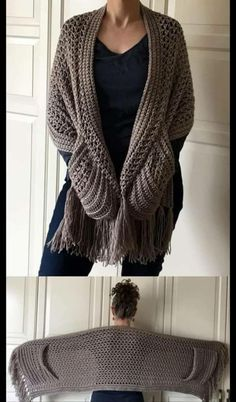 Shawl Crochet, One Skein Crochet, Crochet Wrap Pattern, Crochet Poncho Patterns, Shawl Patterns, Crochet Scarves, Crochet Clothes, Hooded Scarf Pattern, Crochet Vests